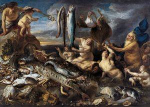 Jacob Jordaens (flämisch; Antwerpen 1593–1678 Antwerpen); Frans Snyders (flämisch; Antwerpen 1579–1657 Antwerpen) Die Gaben des Meeres 1640/50 Öl auf Leinwand 269 x 377 cm G9 The Gifts of th